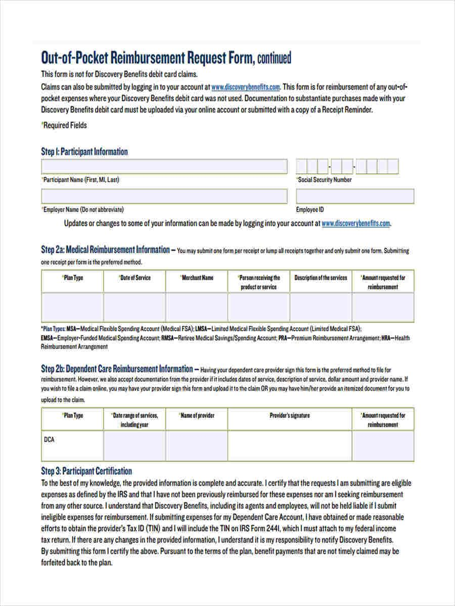Request Reimbursement Form Free Documents Word Pdf Out Pocket