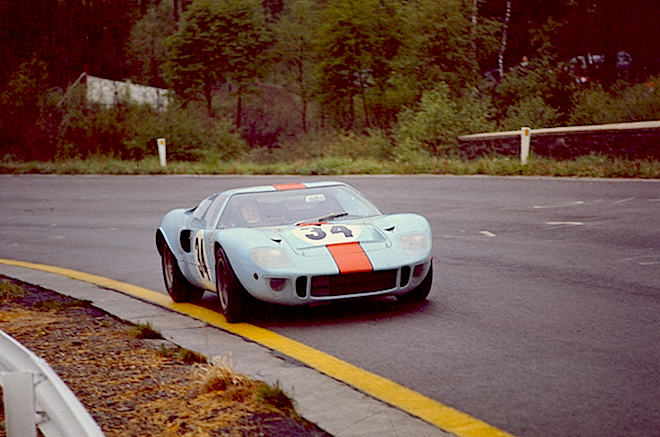John Wyer Gulf colored Ford GT40s. David Hobbs and Paul Hawkins drive to fourth in the 1968 1000kms of Spa-Francorchamps. LAT photo. RACER.com