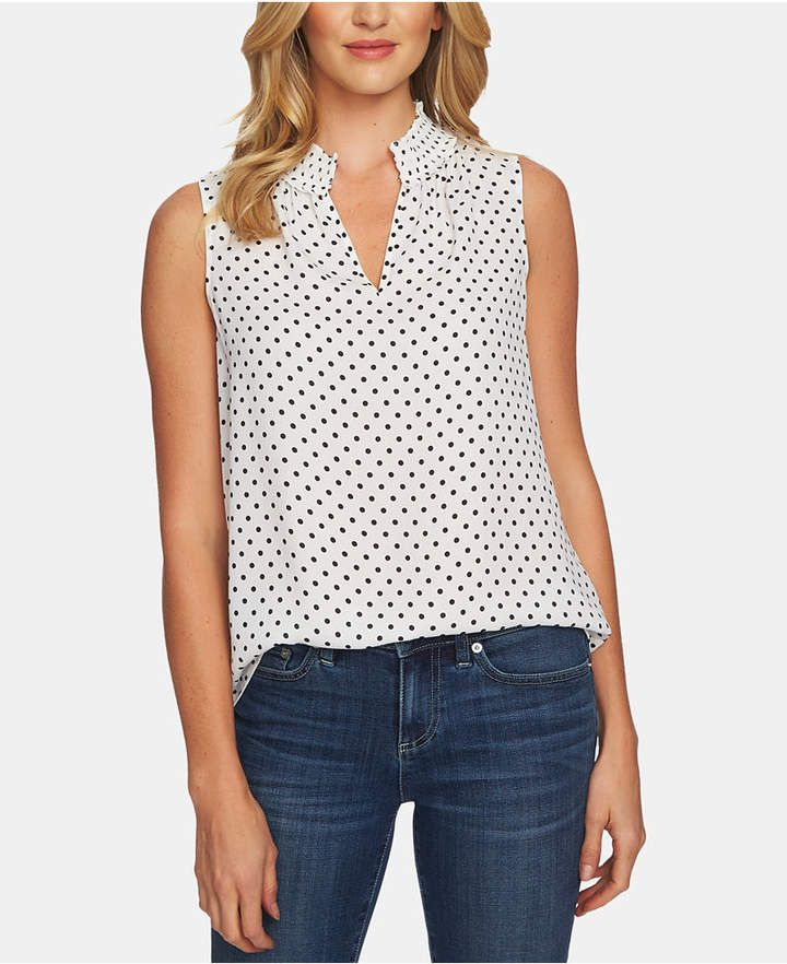 0a72bf6ed24bfb Dot-Print Shirred-Neck Top in 2019
