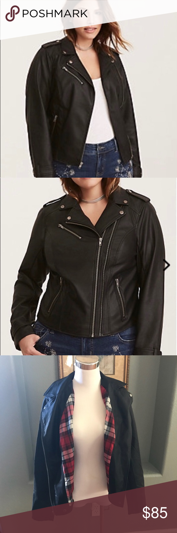 4730483db3a NWT Torrid Faux Black Leather Moto Jacket Model photos for reference. Brand  new black faux