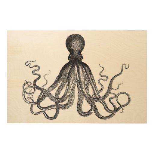 Giant, vintage nautical octopus steampunk antique kraken gothic sea monster sketch book plate line drawing art print, retro yet hipster modern emo grunge goth wood canvas.