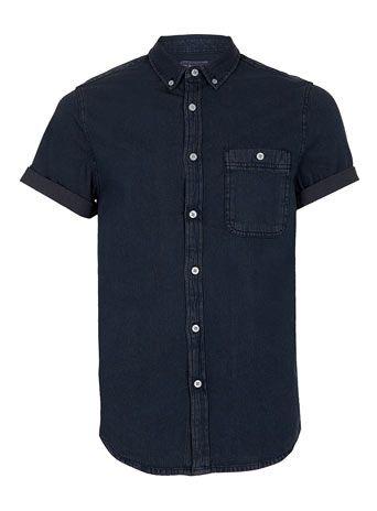 b0b1339d5 INDIGO DENIM SHORT SLEEVE SHIRT - Men's Shirts - Clothing   business ...