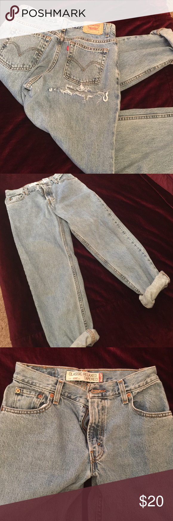 Levi 550 jeans good condition. custom rip in the butt, fit a size 26-27 women. Levi's Jeans Boyfriend