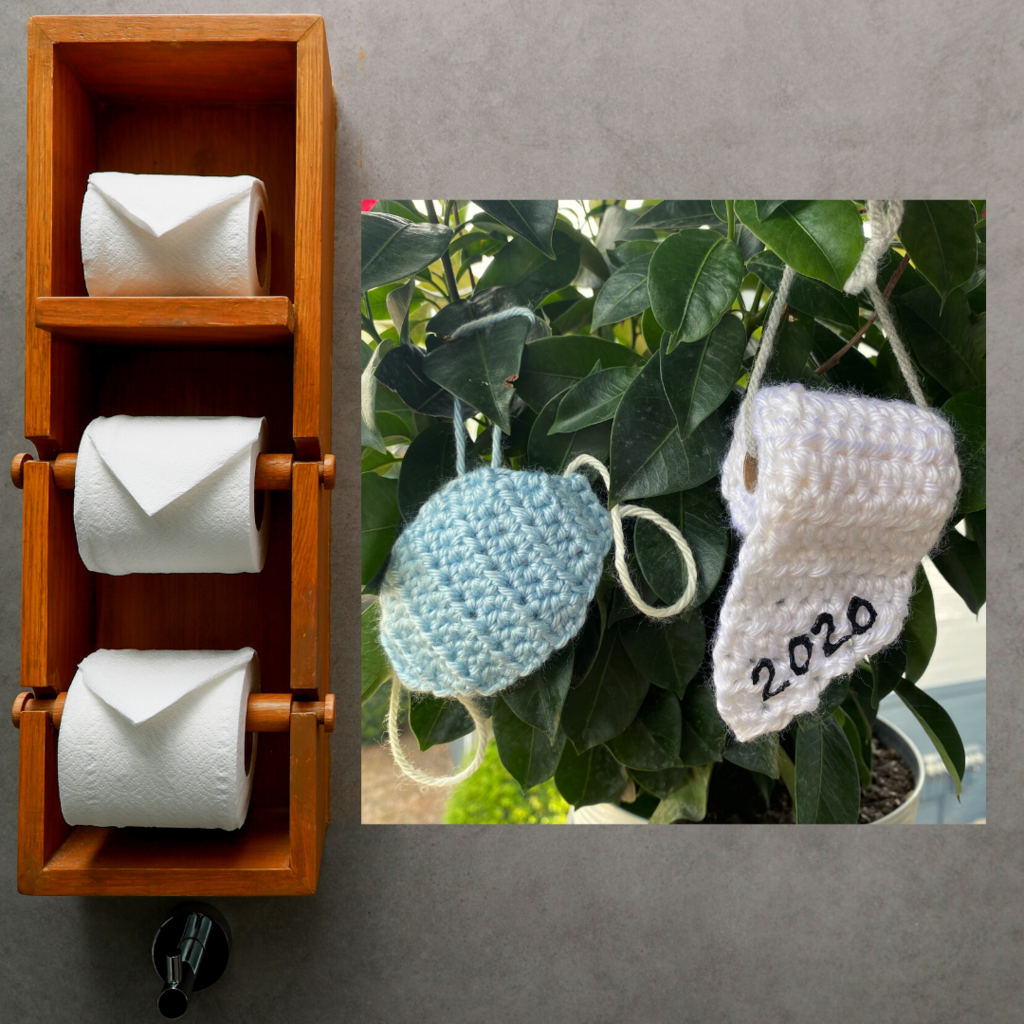 2020 Toilet Paper Ornament And Face Mask 2 Piece Set Paper Ornaments Funny Ornaments Crochet Ornaments