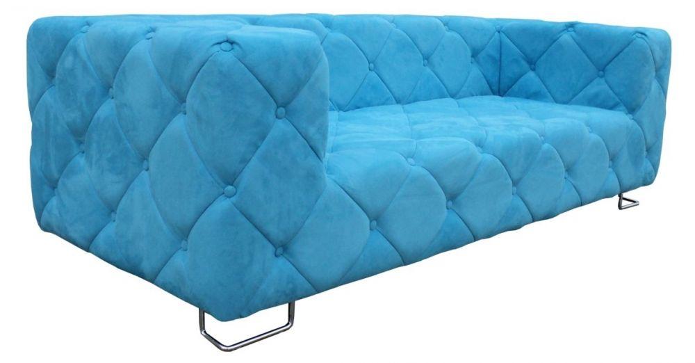 TREND 3er Sofa Mikrofaser blau - auch in orange, lila, schwarz