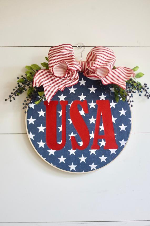 Photo of 4th of July Wreath, Patriotic Wreath, Hoop Wreath, Fourth of July Wreath, Americana Wreath, Farmhouse Wreath, Embroidery Hoop Art