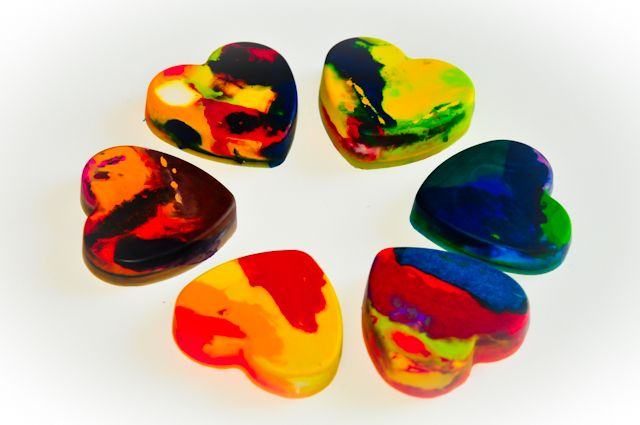 Crayon hearts.  Made out of pieces of broken crayons.  Turn them into a whole heart that kidos can color with.