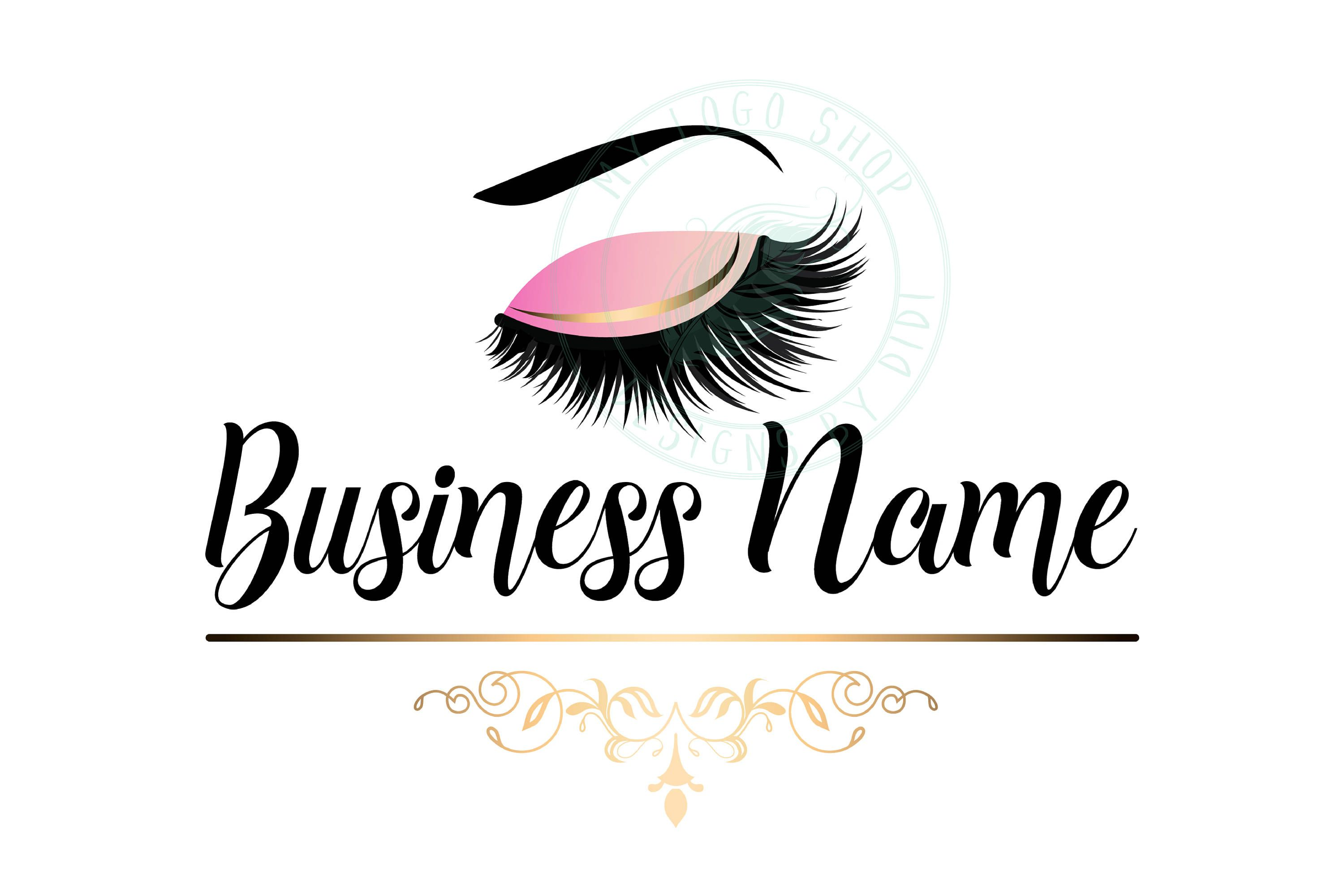 Custom logo, pink gold lashes logo, eyelash logo, cosmetics