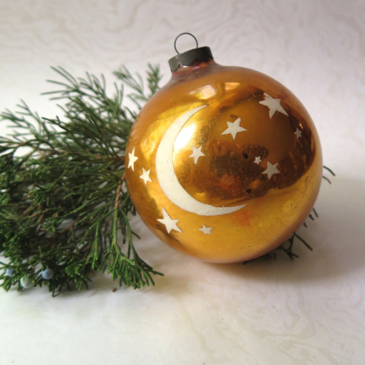 Vintage Extra Large Christmas Ornament Gold Ball Moon Stars Etsy Large Christmas Ornaments Christmas Ornaments Shiny Brite Ornaments