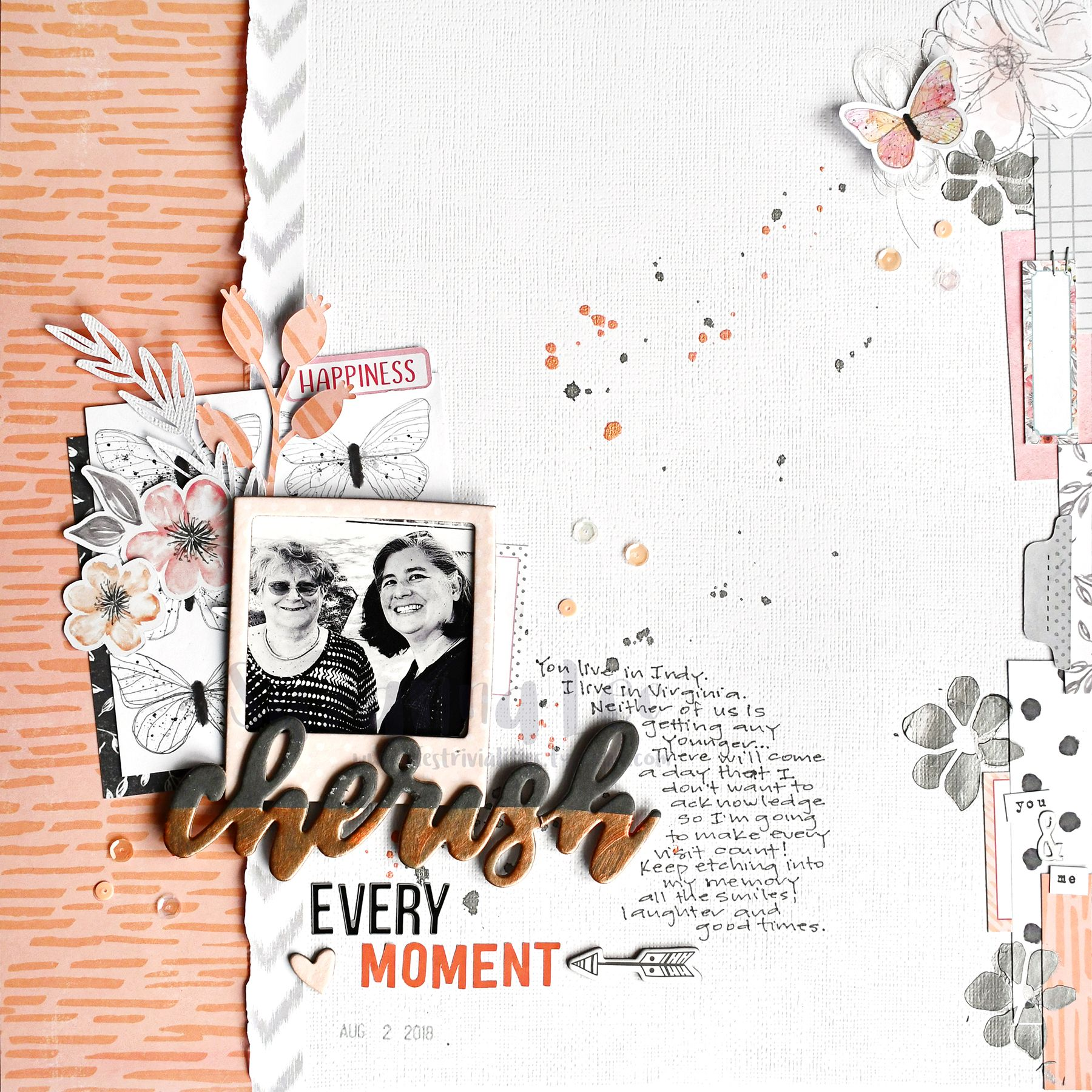 Cherish Every Moment Created Using Salmon, Grey And Silver