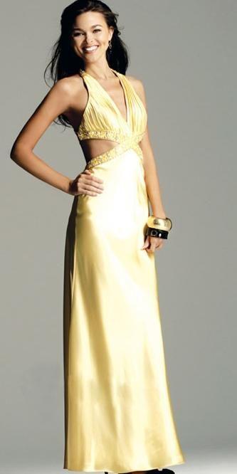 Daffodil Sheath Halter Deep V-Neck Satin Prom Dress