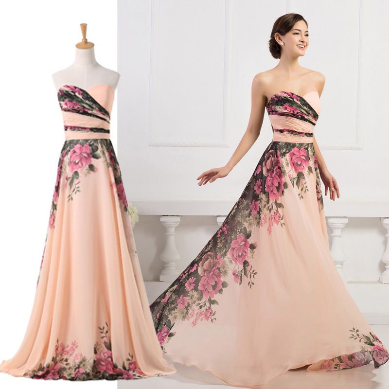 2015 TRENDY FLORAL Wedding HOMECOMING Evening/Formal/Party/Prom ...