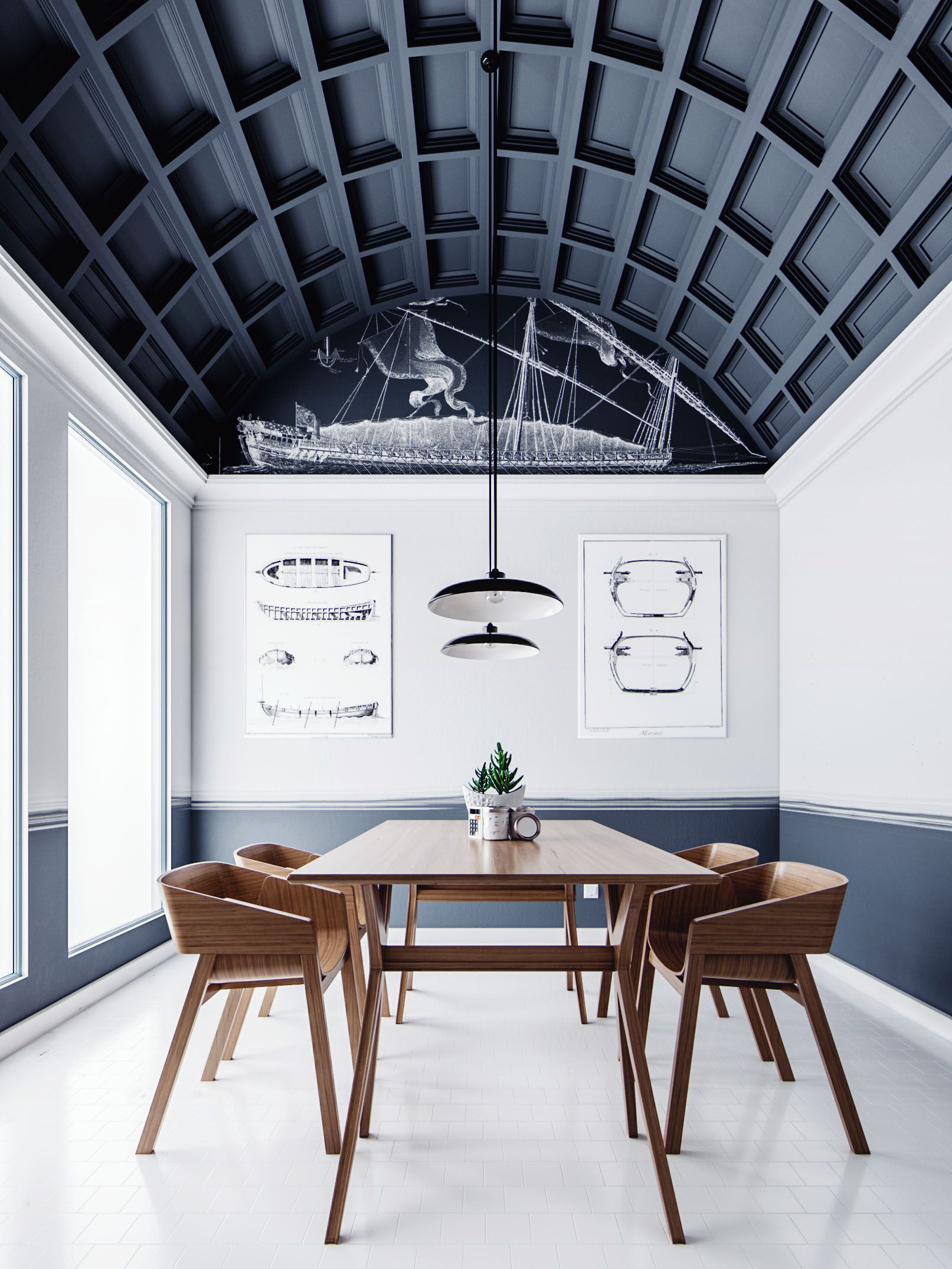 Conference Room With Acoustical Coffered Ceiling Modern House