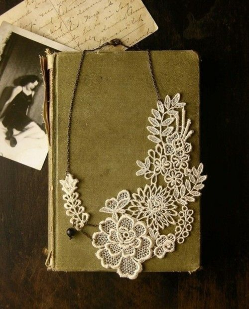 Vintage Lace and Old Books. I don't know why, but pretty.