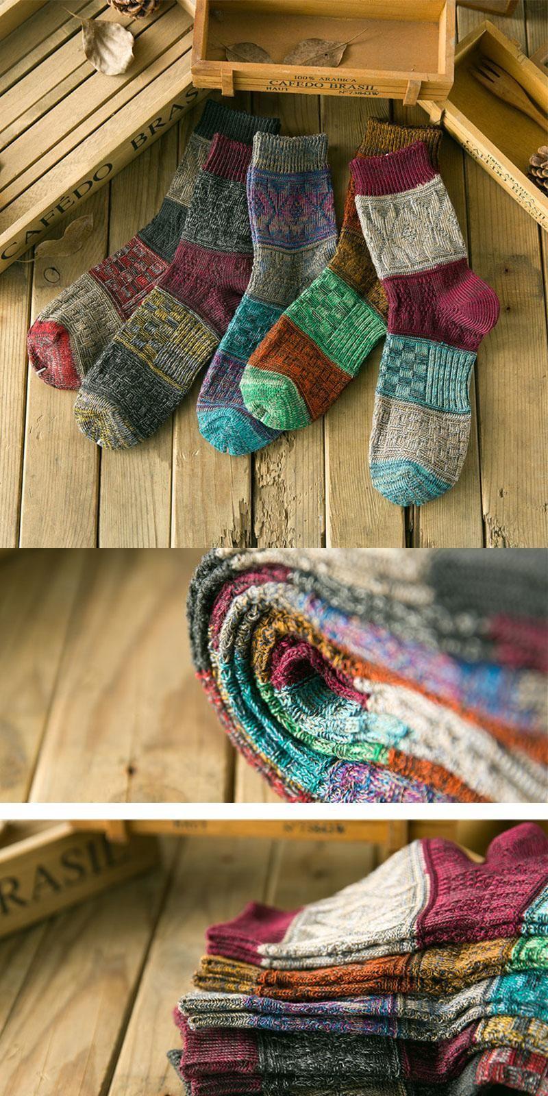 New Men Cotton Vintage knitting Socks Women Spiral pattern Weave ...