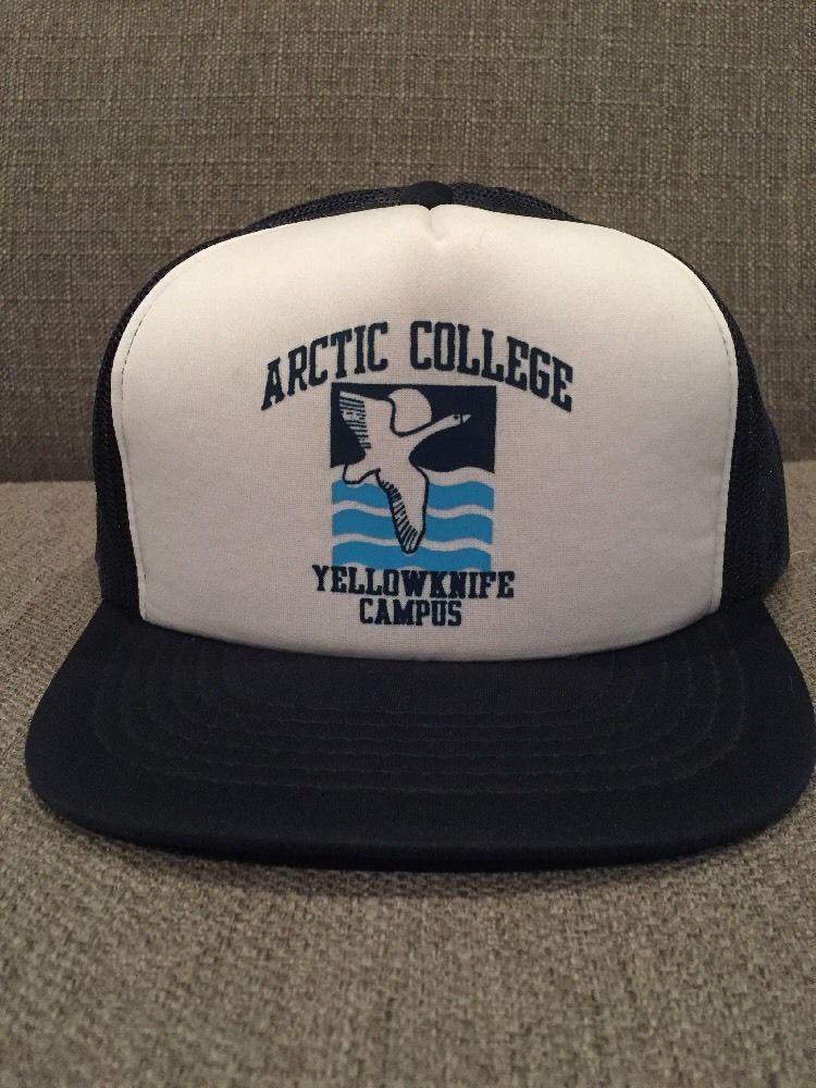 Vintage Arctic College Yellowknife Campus Trucker Hat Mesh Snap Back Aurora   0212eb568970