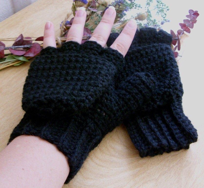 Warm Wool Crocheted Midnight Convertible Fingerless Mittens/Gloves ...