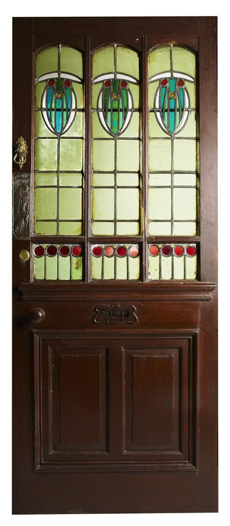Glasgow style stained wood door circa 1900 the overpainted panel stained wood with brass hardware and clear coloured glass with lead came panels circa i have a similar door i purchased from a container from scotland planetlyrics Gallery