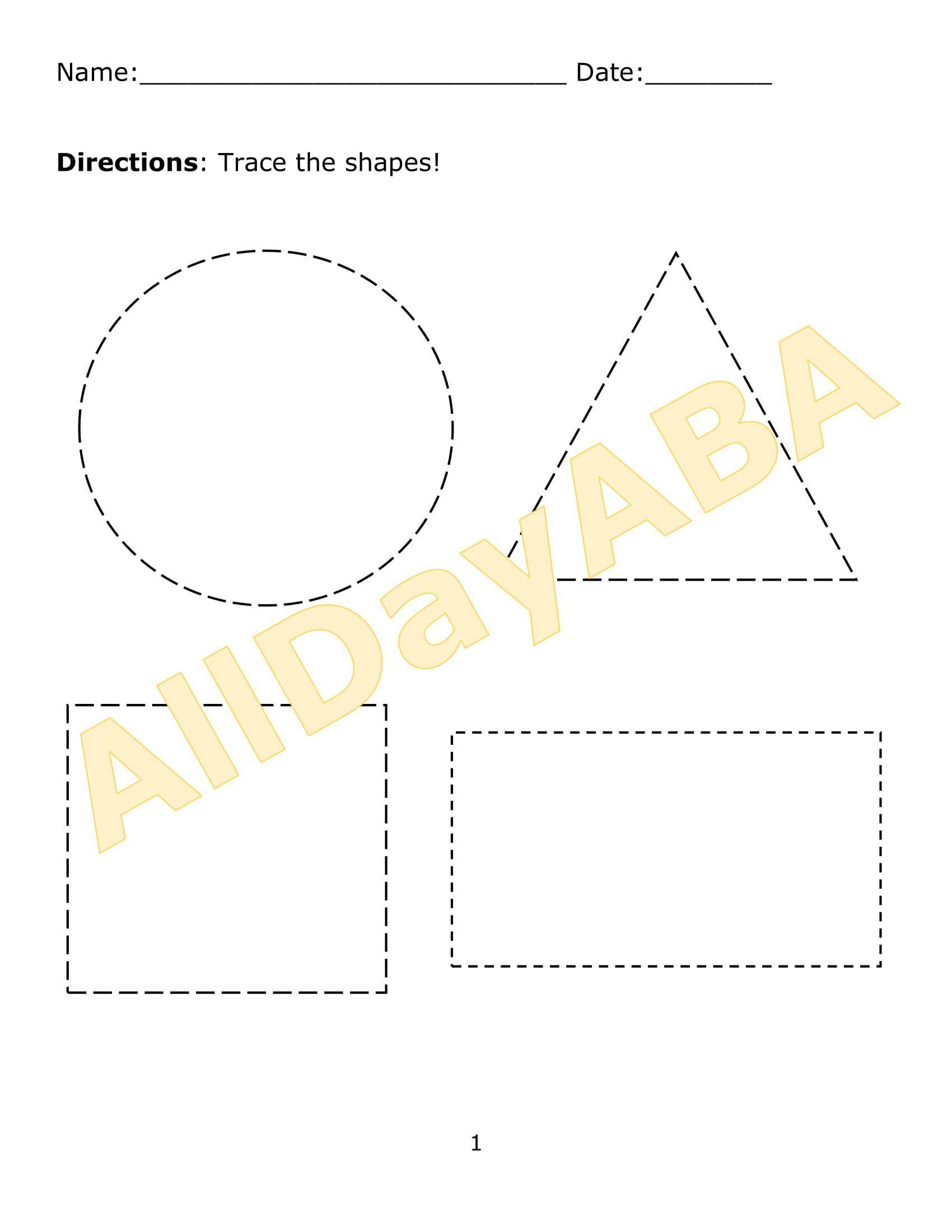 Tracing Shapes Worksheet Set