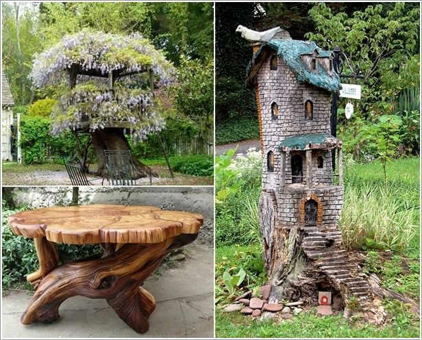 Have you got an old tree cut down and you are left with a trunk or stump?  If yes then view these ideas and use the tree trunk or stump to decorate ...