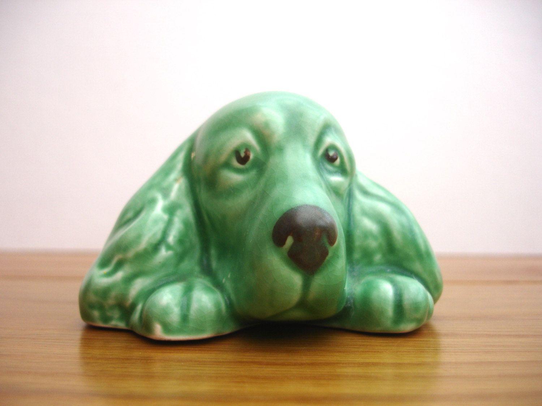 1950s Ceramic Green Sylvac 2025 Spaniel Dog Posy Vase Vintage Posy