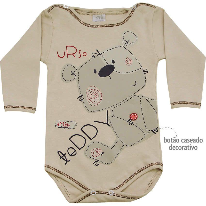 206ee872b Body Bebê Menino Urso Teddy Manga Longa Bege - Patimini :: 764 Kids   Roupa  bebê…