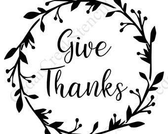thanksgiving stencil give thanks wreath | Free stencils ...