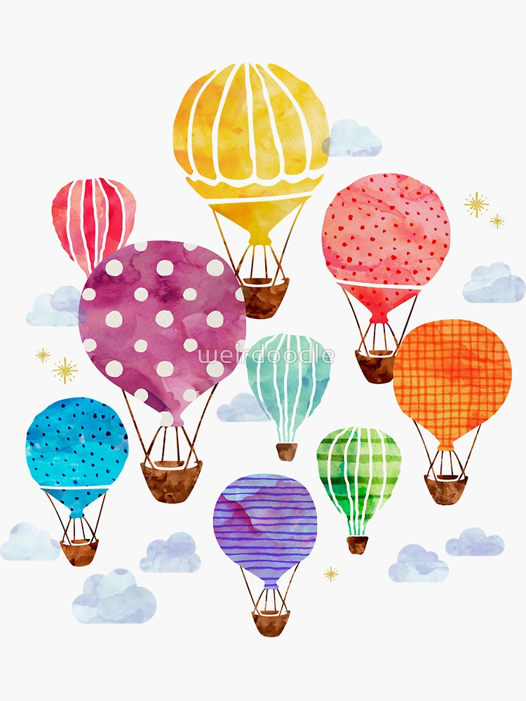 'Hot Air Balloon' Sticker by weirdoodle