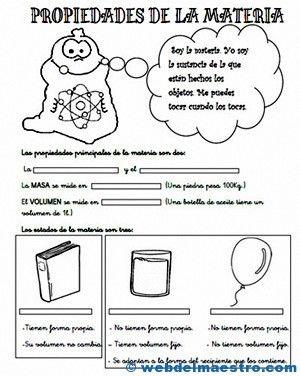 Propiedades de la materia para primaria