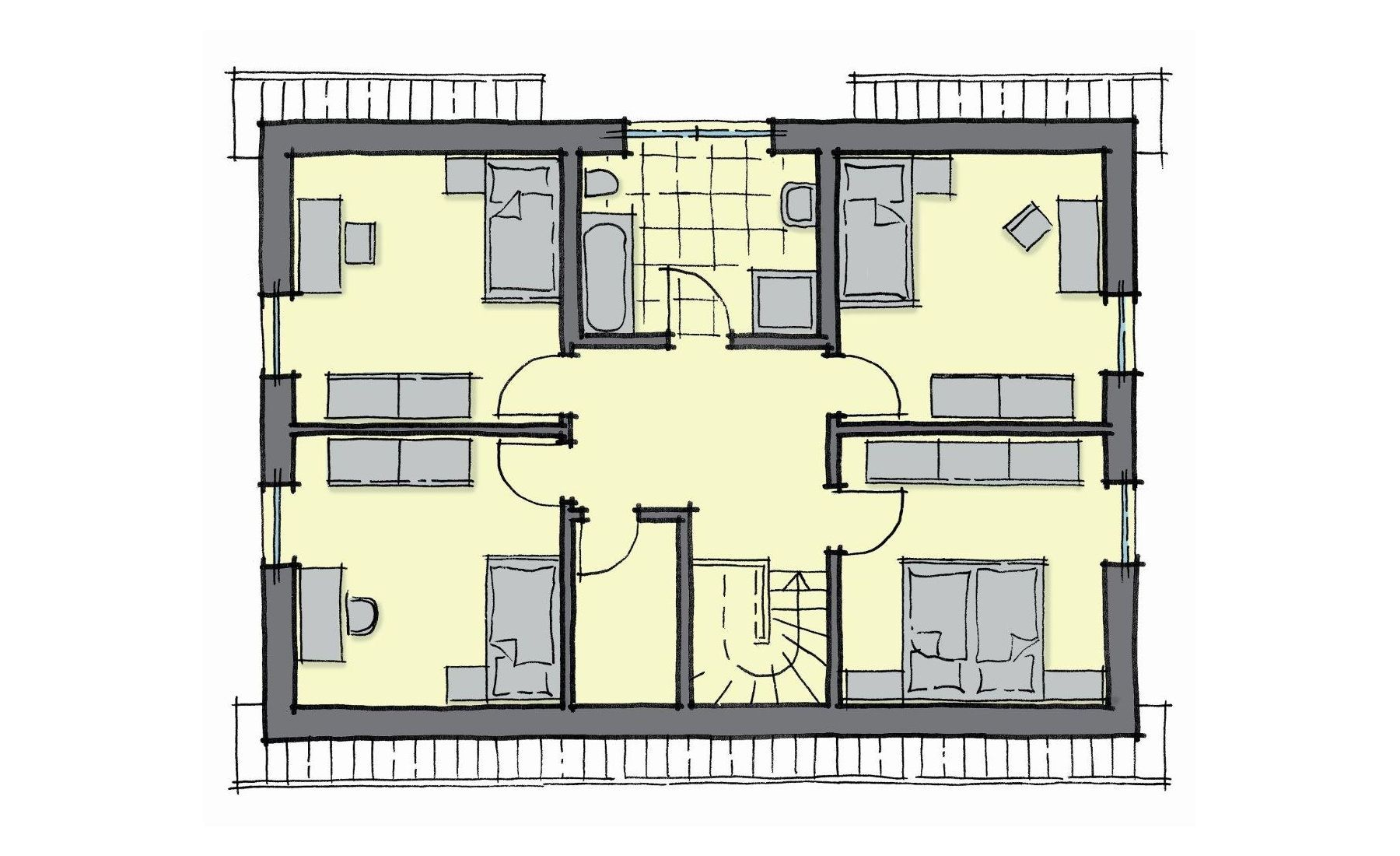 Grundriss Einfamilienhaus Dachgeschoss mit 3 Kinderzimmer ...