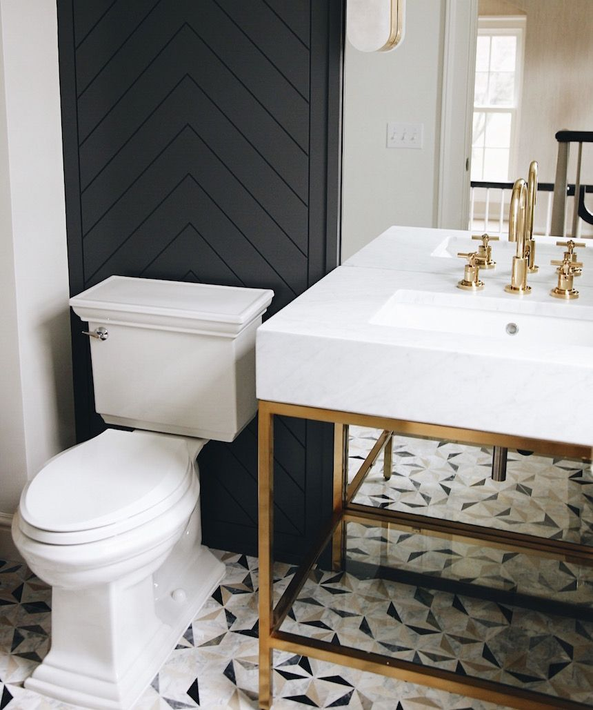 Home Update Somewhere Lately Powder Room Tile Black Powder Room Black Bathroom