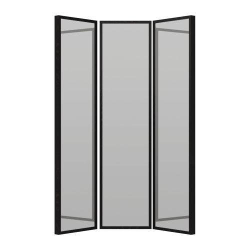 Ikea stave miroir brun noir 130x160 cm miroir avec for Miroir noir ikea