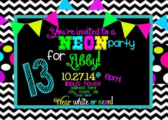 Neon Birthday Party Invitation Fiestas De Cumpleaños De