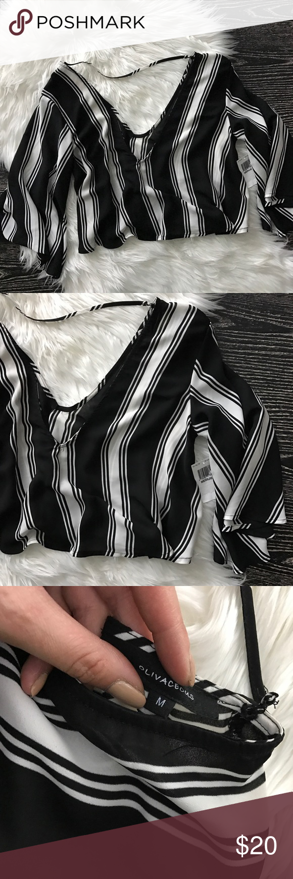Olivaceous Black & White Crop Top Medium new with tags / olivaceous from nordstrom / black & white woven top / medium Nordstrom Tops Crop Tops