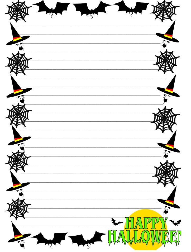 A set of Halloween themed lined paper and pageborders for FREE at - lined page