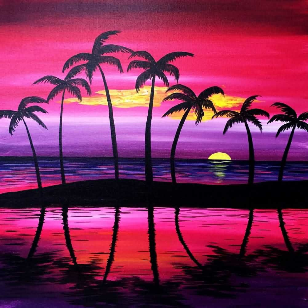 Sea Tree Moon Sunset Photography Computer Print Background Etsy Sunset Painting Beginner Painting Summer Painting
