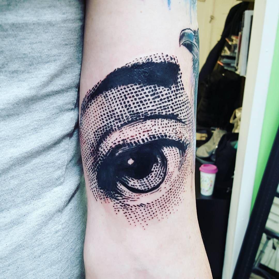 Joanne Baker blackwork printmaking inspired eye tattoo