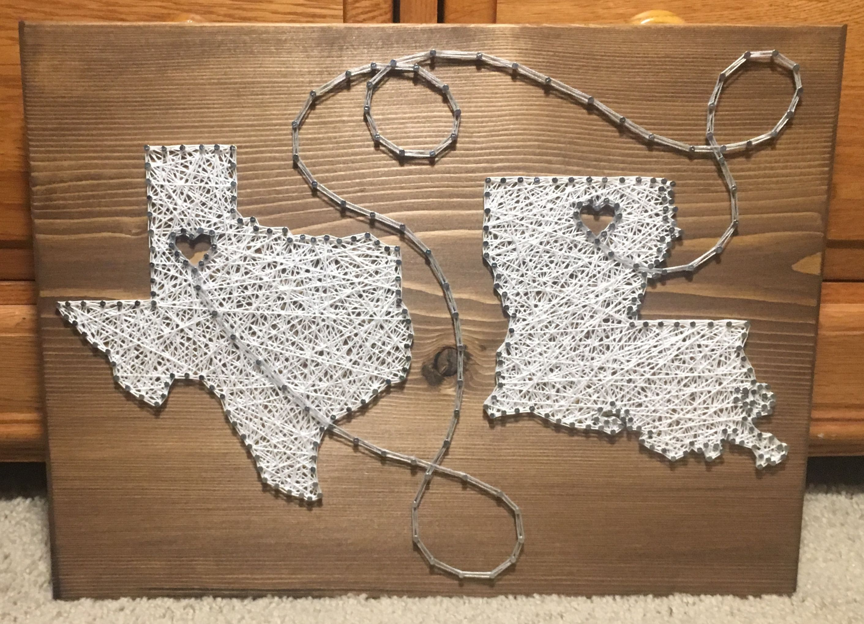 CUSTOM Two States Countries Connecting String Art