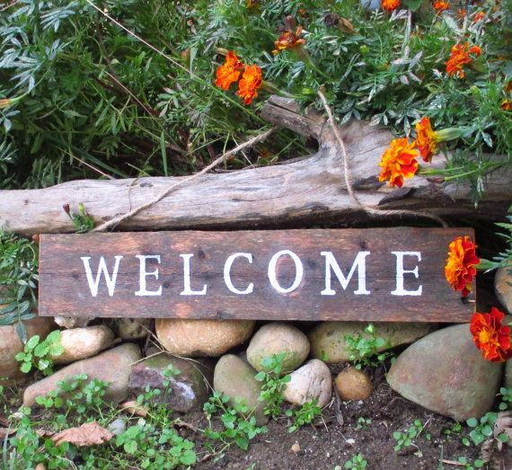 Reclaimed Wood Welcome Sign Rustic Decor Outdoor Decor