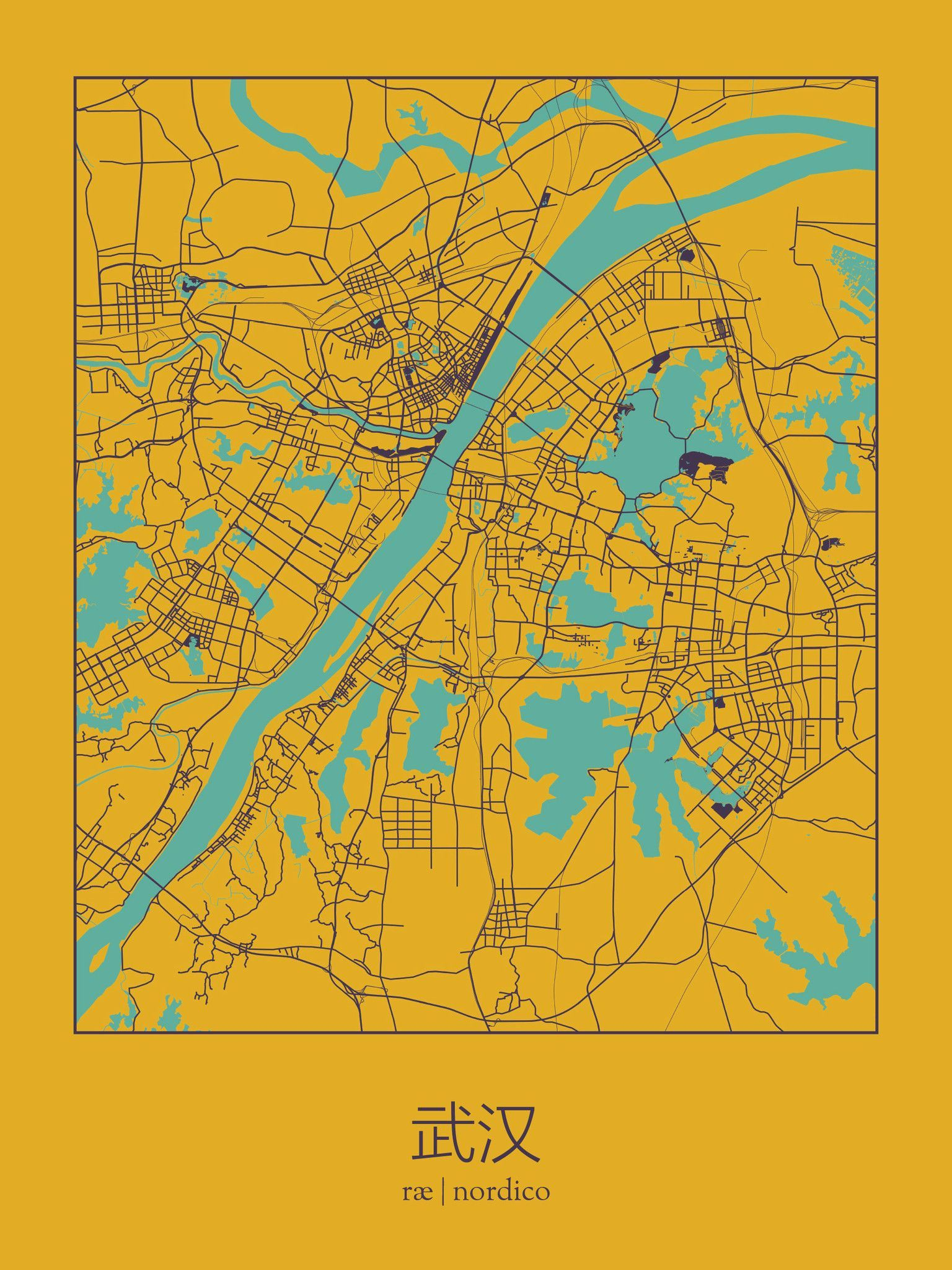 Wuhan China Map Print maps Pinterest Wuhan and Graphics