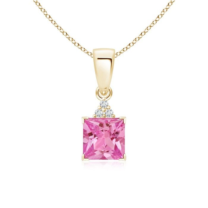 Angara Emerald-Cut Pink Sapphire Pendant with Diamond Trio XZOhx0