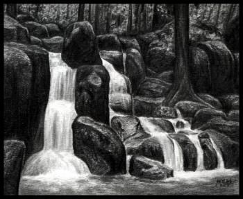How to Draw Waterfalls, Realistic Waterfall, Step by Step, Watermasses, Landmarks & Places, FREE Online Drawing Tutorial, Added by finalprodigy, February 13, 2012, 1:56:38 pm