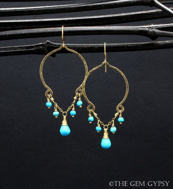 Made To Order Gold Turquoise Earrings - Gold Turquoise Dangle Earrings - Gold Genuine Turquoise Stone Earrings Handmade By ©The Gem Gypsy  (MTO) Made to order - please allow a few days for shipping.  Metal - Gold Fill Gemstones - Genuine Natural Turquoise (Sleeping Beauty Turquoise) Length - 2 Long Finish - Hammered