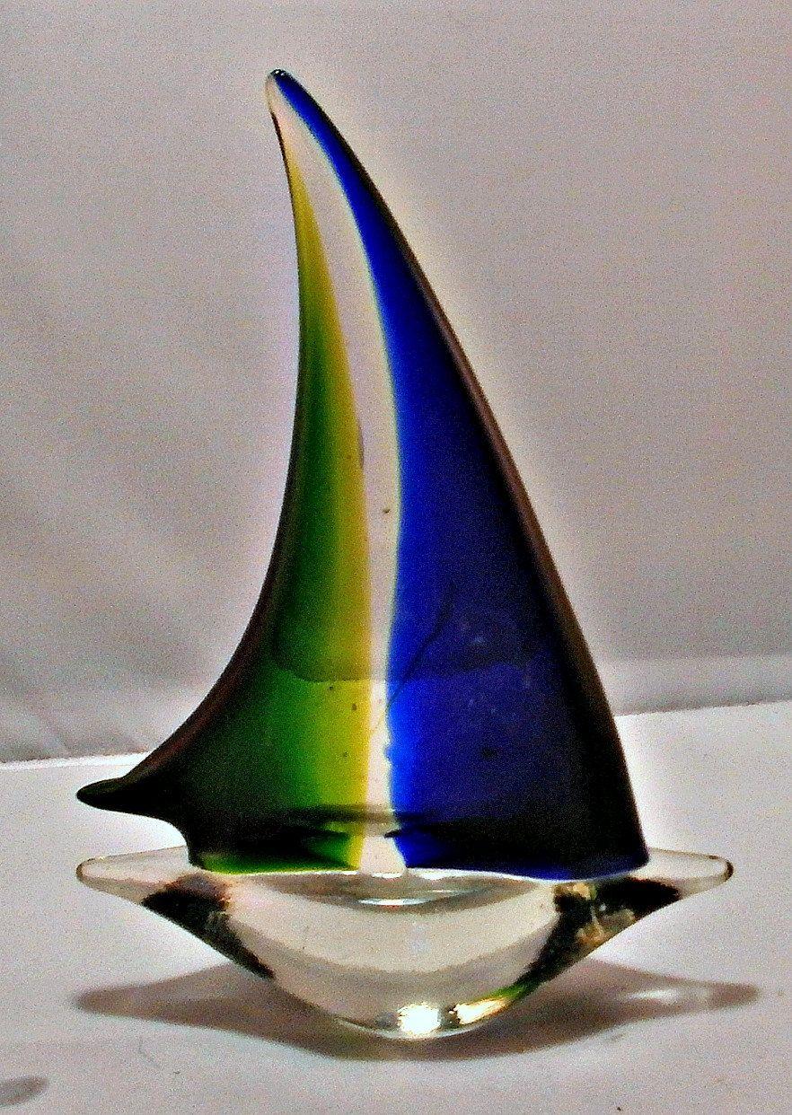 Murano Art Glass Sailboat, Glass Sculpture, Figurine, Vintage Venetian Art Glass by RustedPickle on Etsy