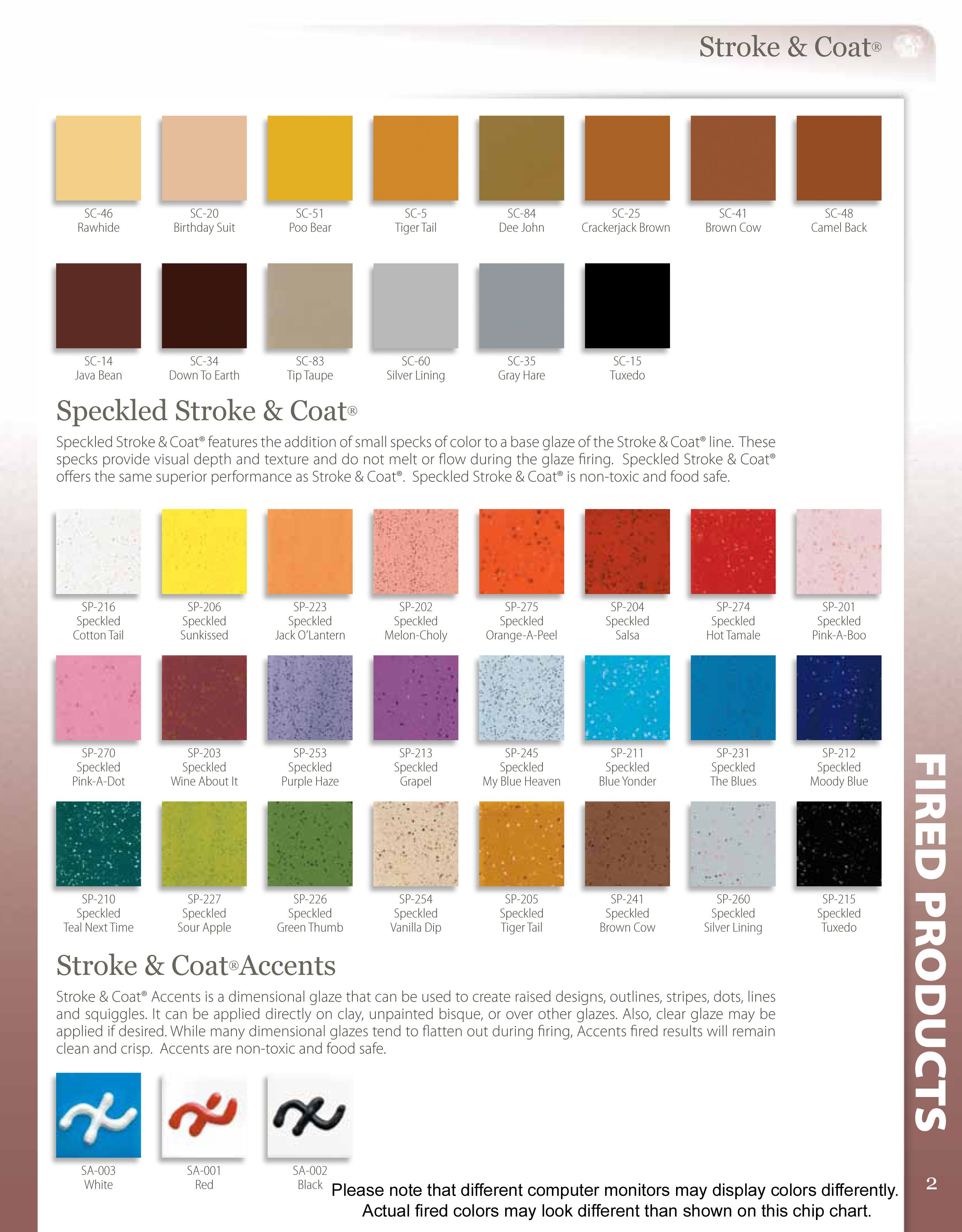 Stroke And Coat Chart Color Charts Glaze Lines We Carry Or Can