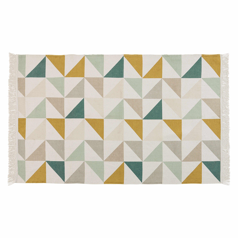 Alfombra con motivo de tri ngulos de algod n 120 x 180 cm for Alfombras de algodon indias