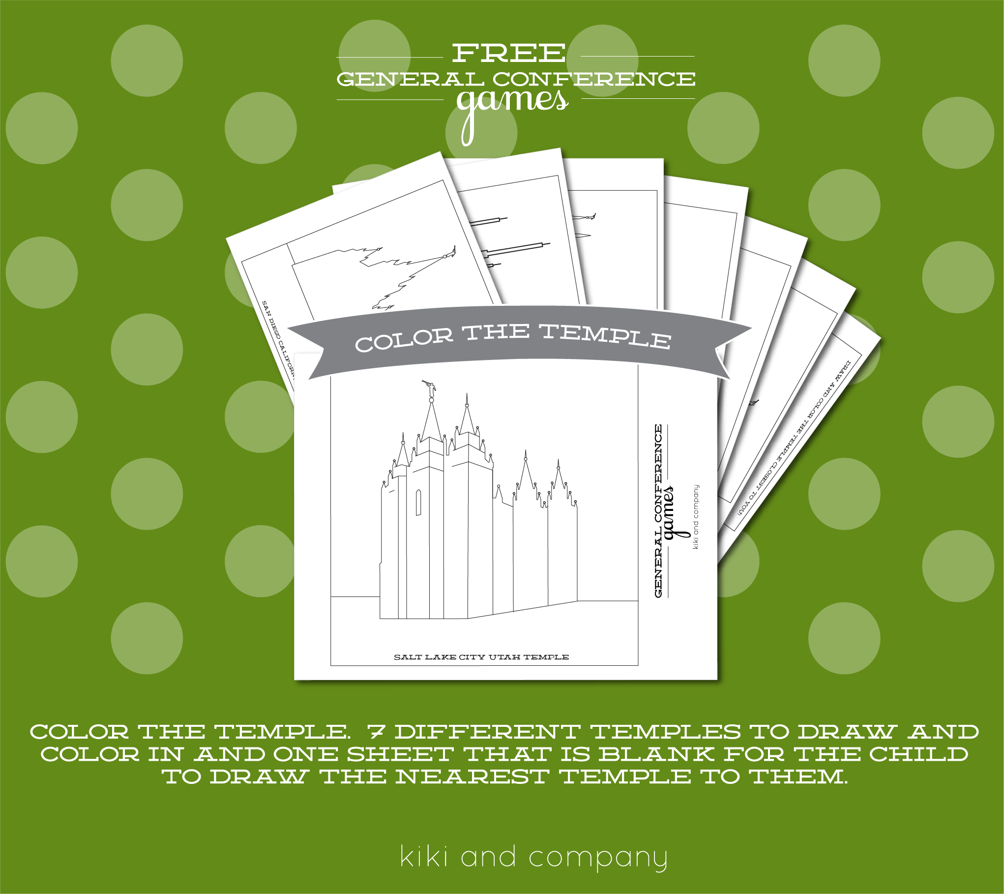 free general conference printable games. color the temple.   General ...