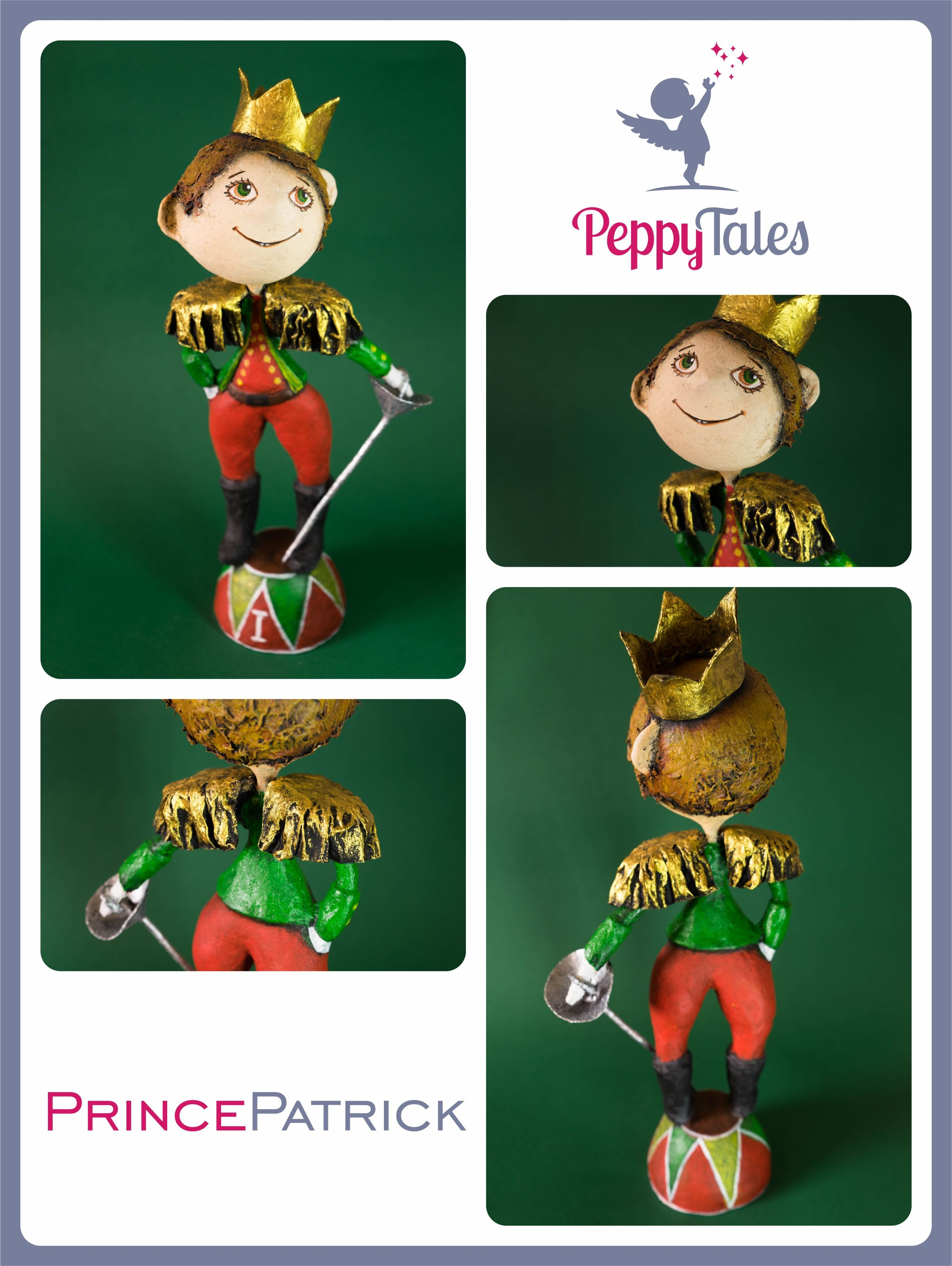 PRINCE PATRICK is a new creation from PeppyTales art studio.  This young prince stands tall and proud on his colorful stand, an imaginative smile dancing across his face. His bright green eyes look off into the distance, peaceful and pleasant as ever. A shining gold crown tells the world he's a little prince, while his epaulettes and silver rapier show us his sense of decorum. Prince Patrick is fully dressed in red and green, white gloves, and sports a head of curly brown hair.
