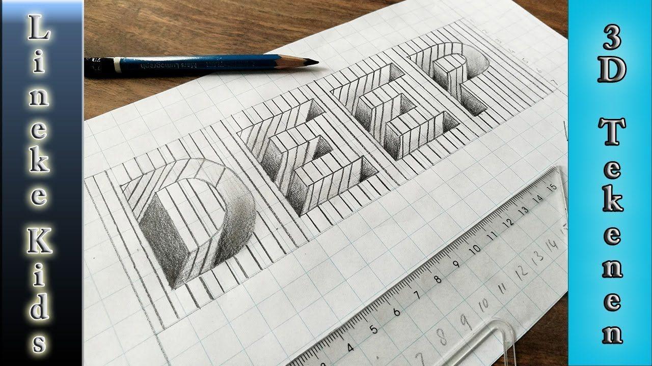 Beste 3D tekening ! Gat letters tekenen makkelijk voor beginners (met FW-41