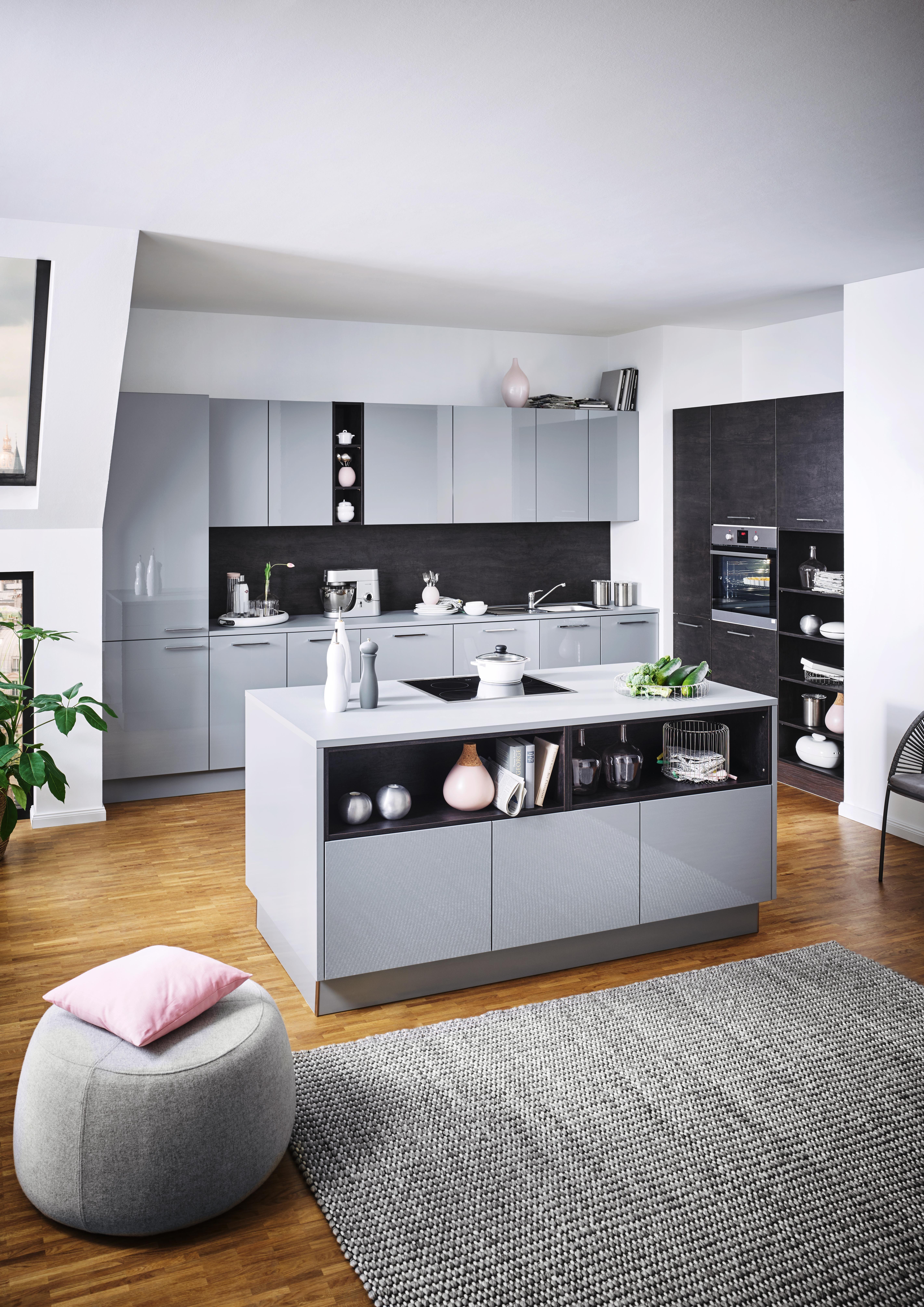 Moderne Kuche Mit Kochinsel In Grau Kuche Mit Kochinsel Moderne Kuche Kuche
